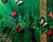 Mystical butterfly abstract painting art on canvas 3D mixed media