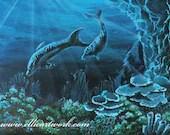 Dolphin painting undersea original art