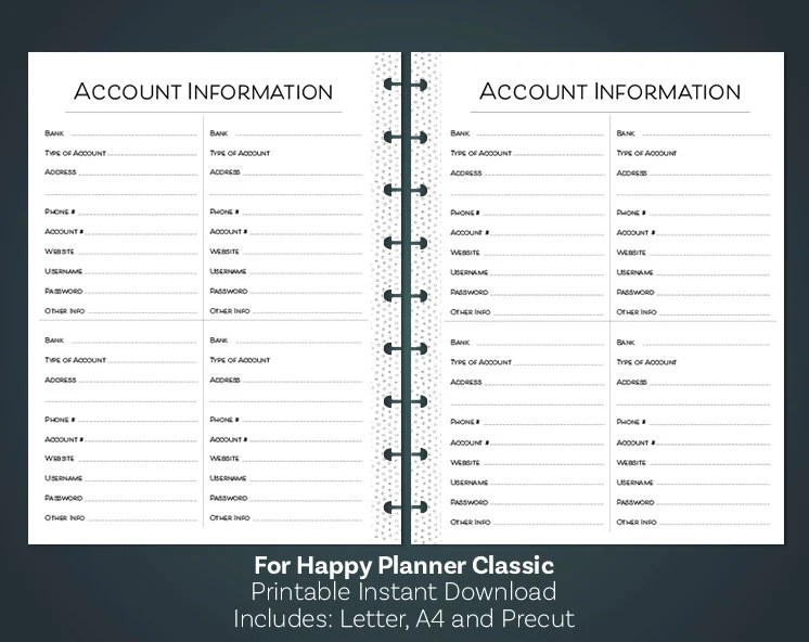 Happy Planner Printable Bank Account Information Happy Etsy
