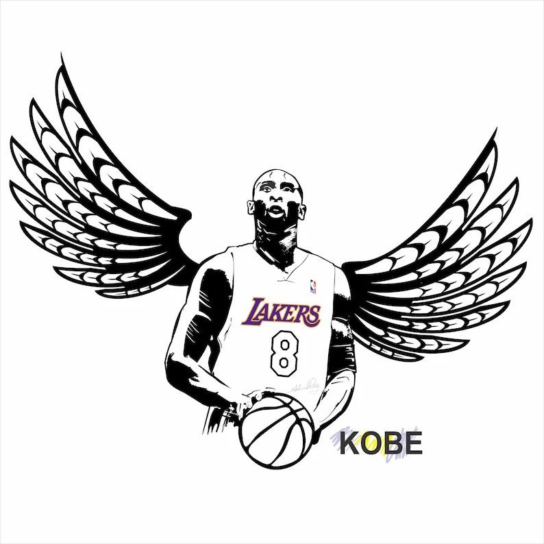 Kobe bryant basketball sport love clipart svg vector