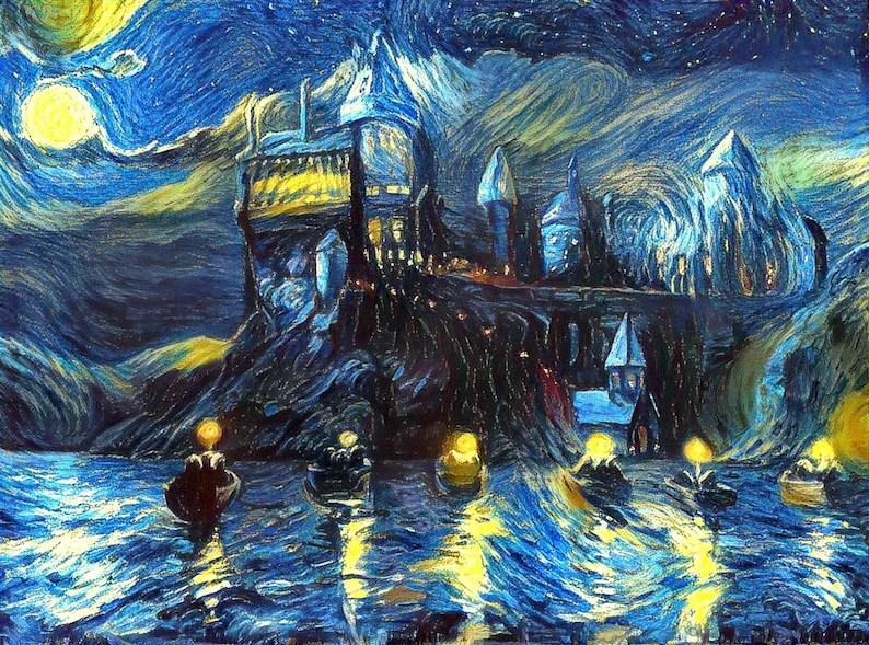 starry night boats castle