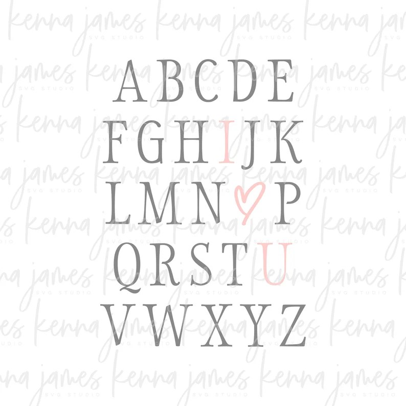 Download Set of 2 ABC I Love You svg Alphabet I Love You svg ABC   Etsy