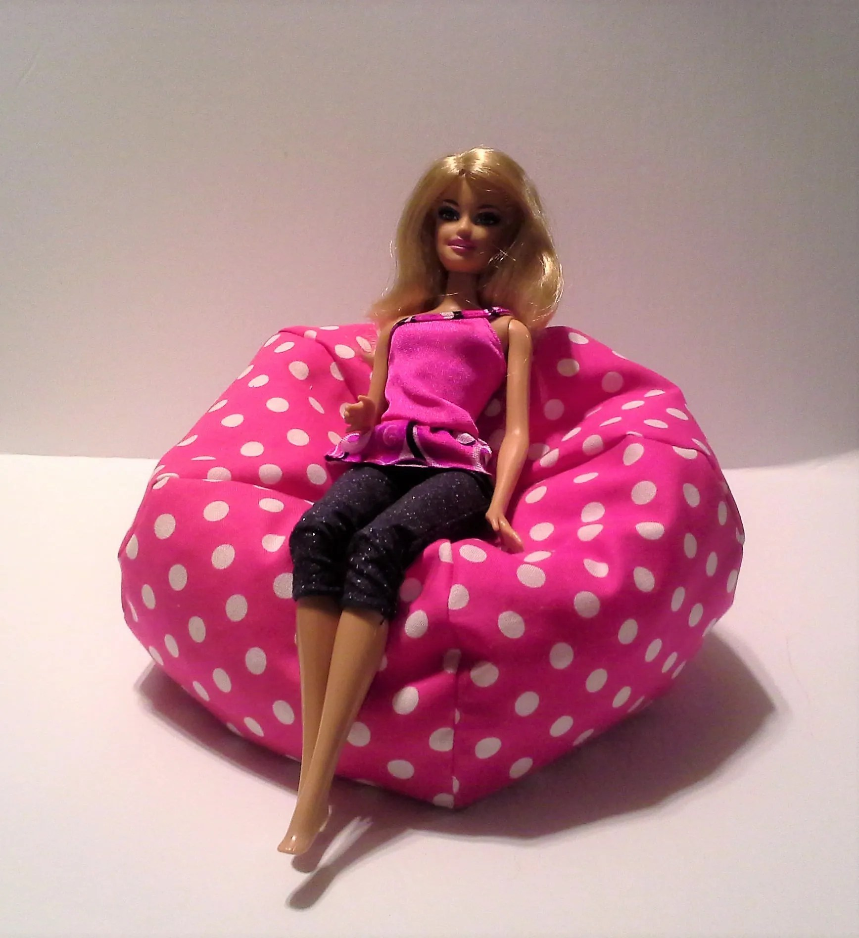 barbie bean bag chair small with ottoman hot pink theme and white polka etsy 50