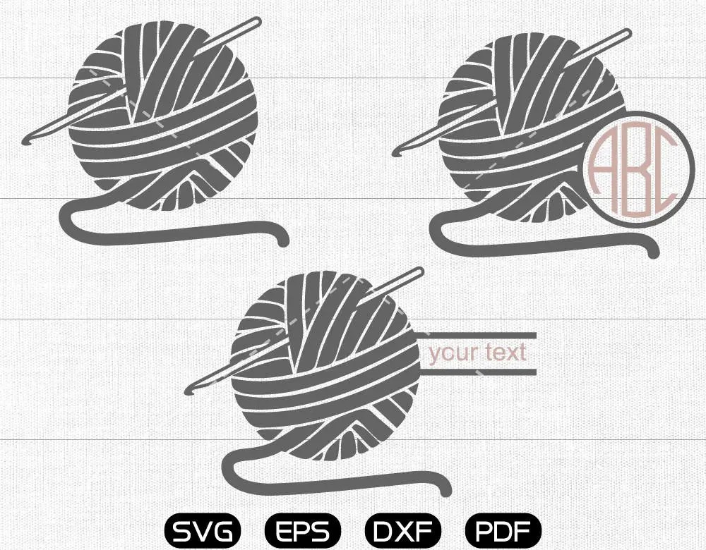 Crocheting Svg Crochet Hook Clipart Monogram Frame cricut