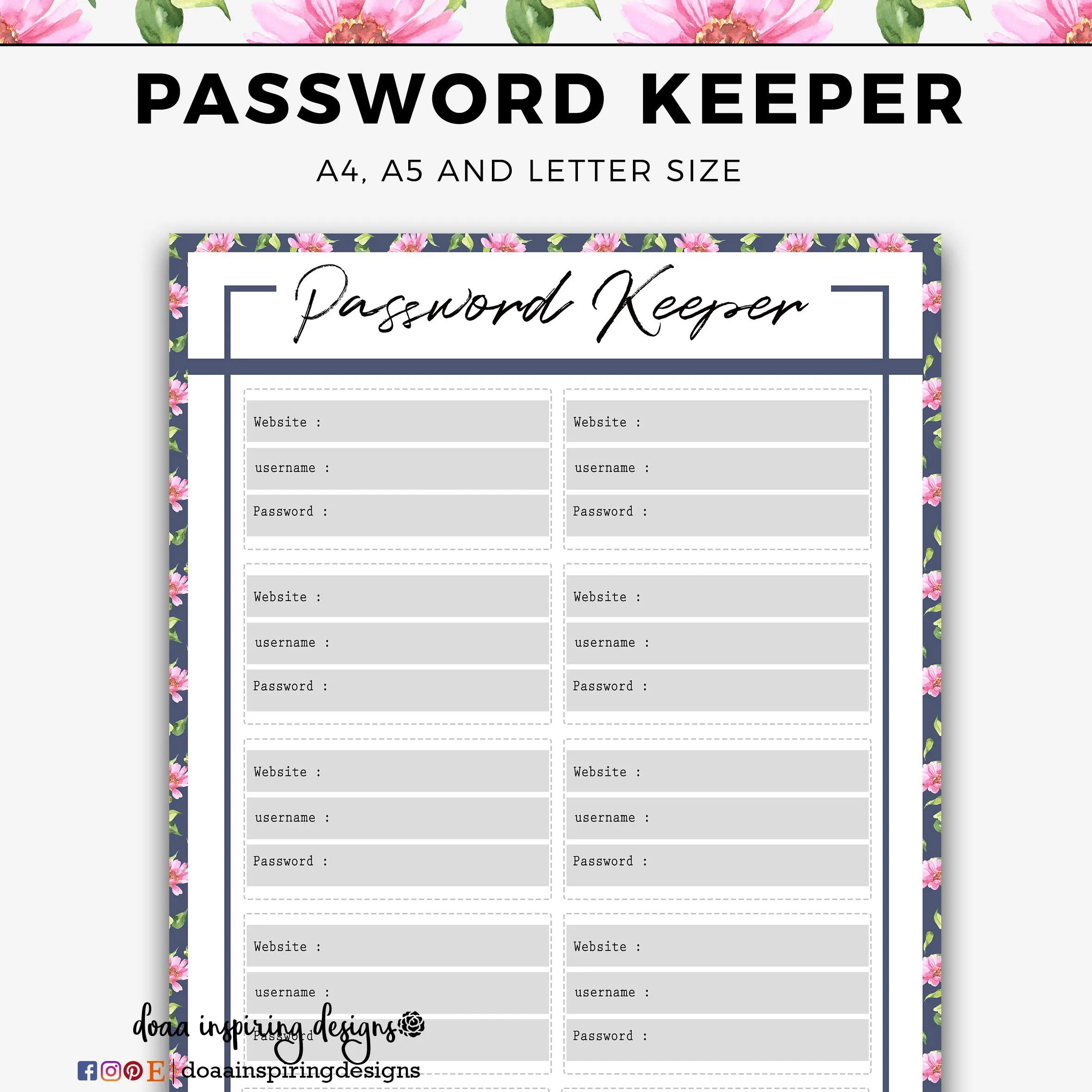 Password Tracker Planner Inserts A5 Password Keeper Floral