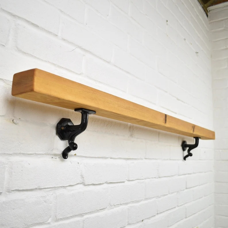Handrail Wood Wrought Iron Flat Round Stair Railing Etsy | Wall Mounted Stair Railing | Exterior | Natural Wood | Interior | Wall Mount Window | Oak