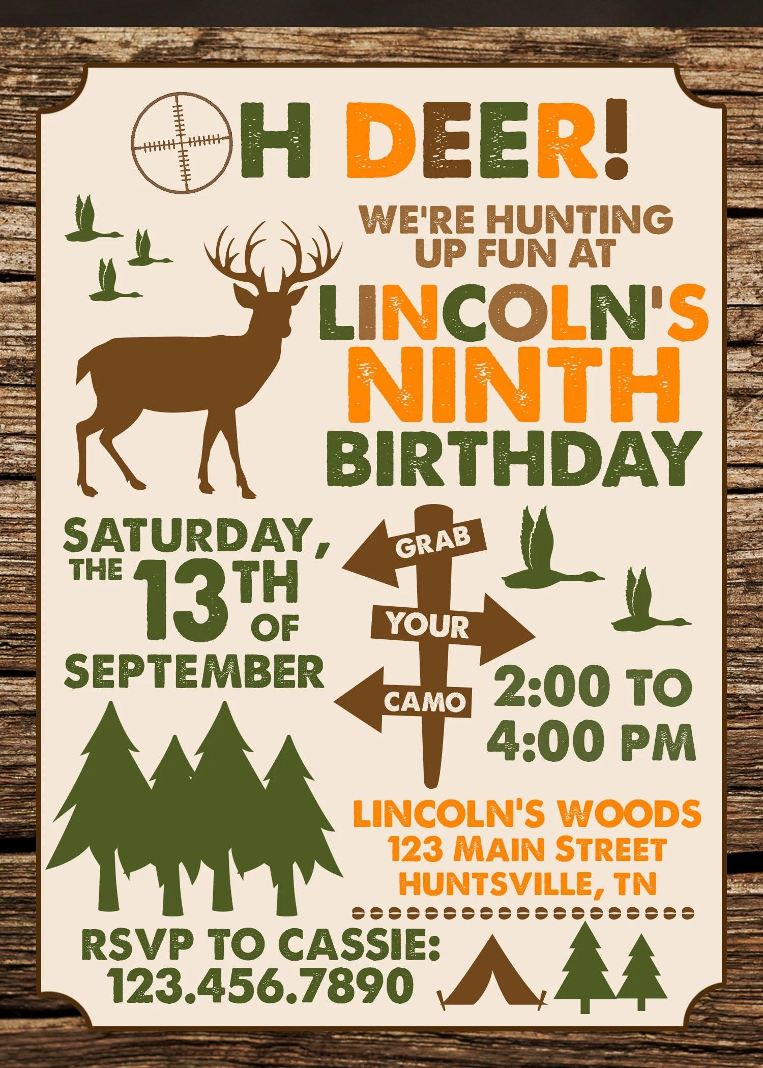 Hunting Birthday Pictures : hunting, birthday, pictures, Hunting, Birthday, Invitation