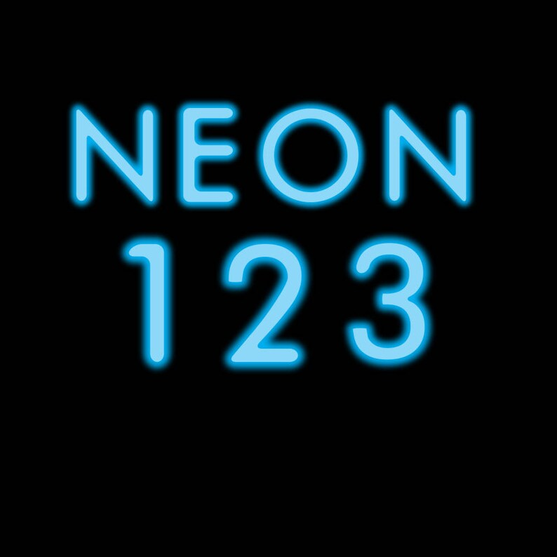 neon alphabet and numbers