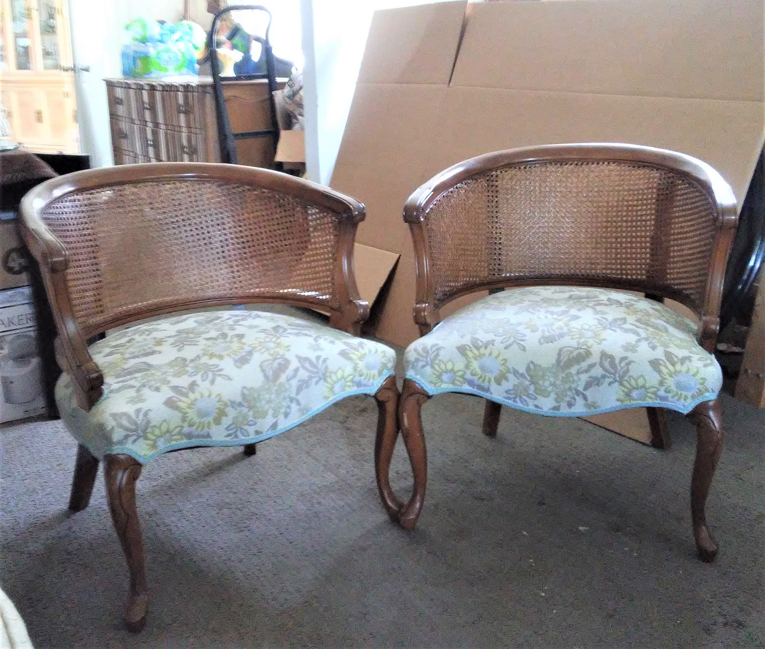 mid century modern cane barrel chairs arm chair covers ebay vintage back french regency etsy image 0