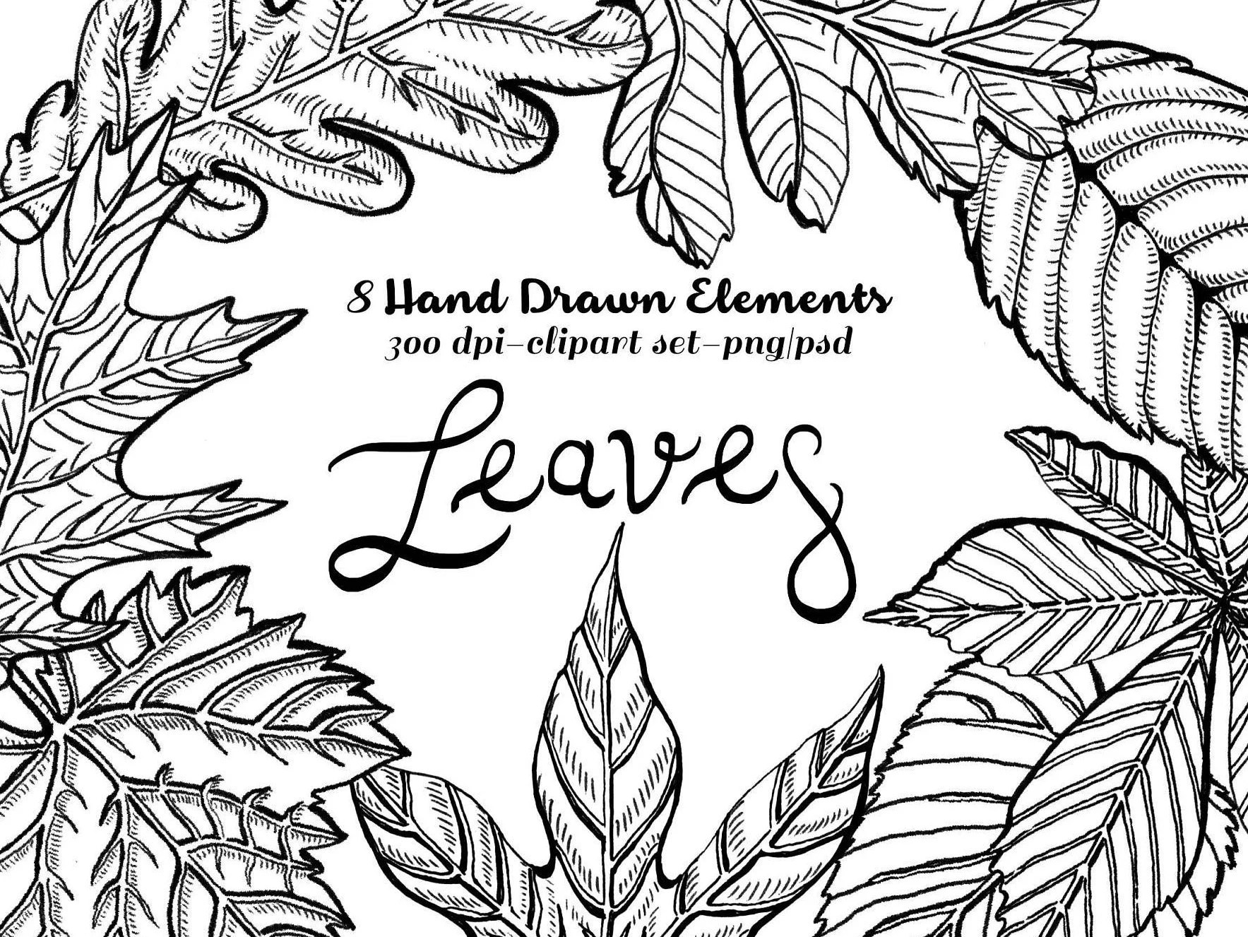 Fall Leaves Clipart Instant Download Lithographic Etched