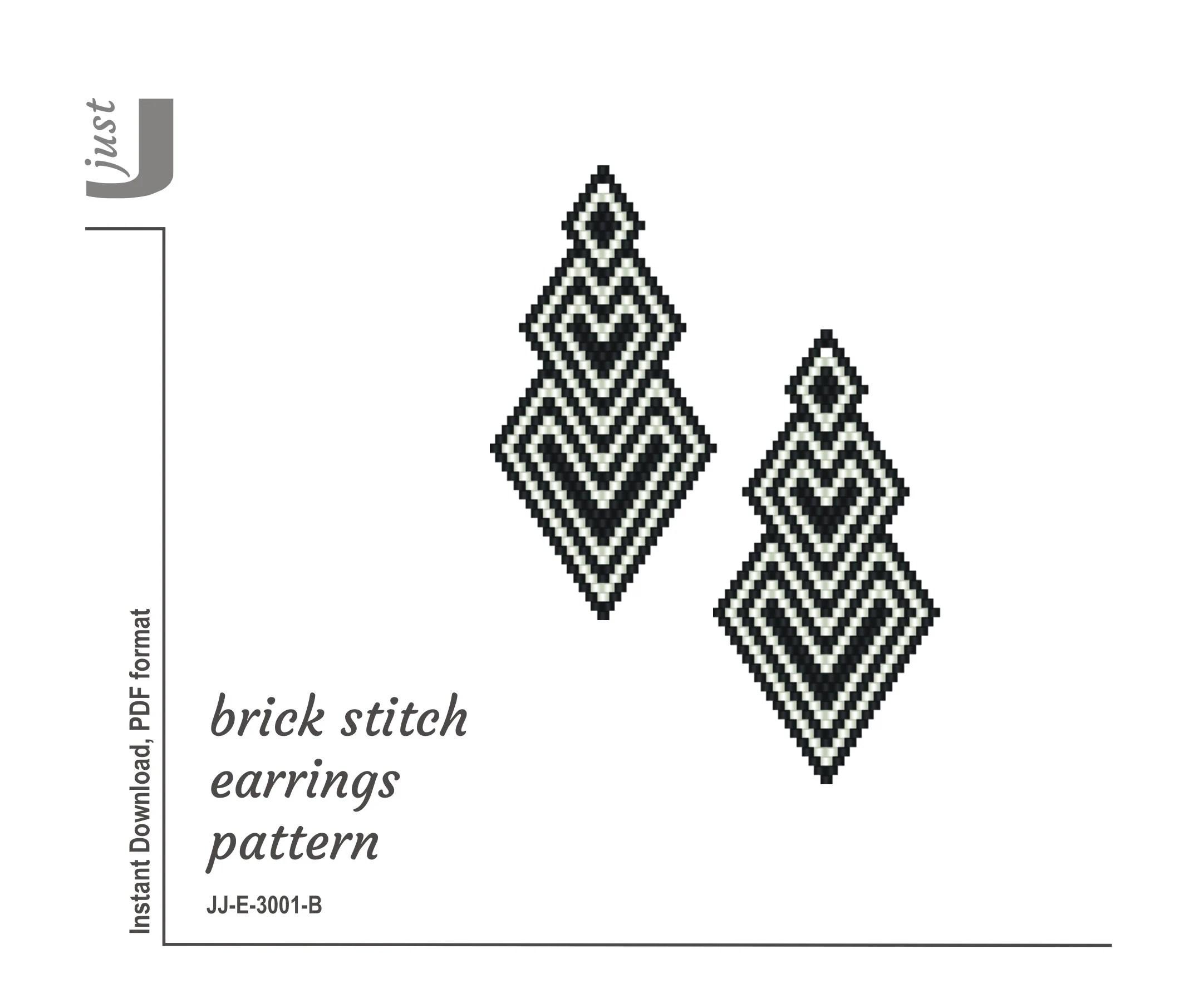 Earrings Pattern Brick Stitch Beaded Earring Pattern PDF
