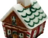 Dollhouse Miniature Ceramic Gingerbread House Cookie Jar - 1:12 Scale Miniture Dollshouse Kitchen Accessory Christmas Holiday Decor