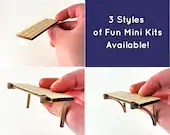 Mini Dollhouse Shelf Kit - Small Grooved Unfinished Lasercut with 3 different Bracket Options - 1:12 Scale Miniature Home Decor Baltic Birch