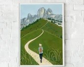 Mountain landscape in Dolomites Italy, Giclee Art Print, Nature painting