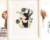 Botanical Girl Print Art - Nature Gift - Wall Art / Decor - Nursery Decor - Girl Illustration - Size A4 / A5 Digital Print