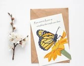 Monarch Butterfly postcard, Tiger milkweed butterfly Giclee A6 print
