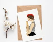 Pretty Girl With Baguette Card - Best Gift for Valentine's Day or Birthday Card - French Style - Postcard - Art Print