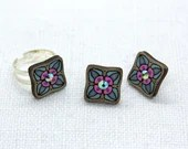 Set of Earrings and Ring with glass crystals. Handpainted Plywood Jewelry. Gift for Her. Romantic Design. Estonian finery.
