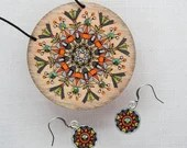 Set of Pendant Neckless and Earrings with glass crystals. Handpainted Plywood Jewelry. Gift for Her. Romantic Design. Estonian finery.