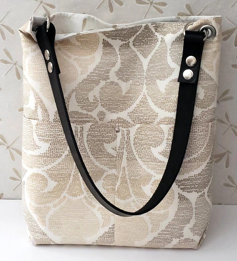 Natural Canvas Tote, Crossbody Bag, Leather Handled Tote Bag, Limited Edition Crossbody Tote Bag, Grommets, Leather Straps, Magnetic Snaps