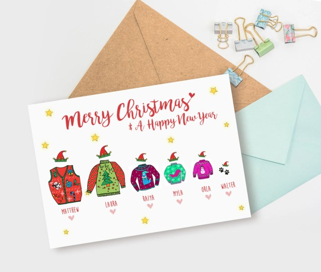 Personalised Christmas Card Pack Or Single Christmas Jumper Card Custom Holiday Card Multi Pack Personalised Xmas Card Free Shipping