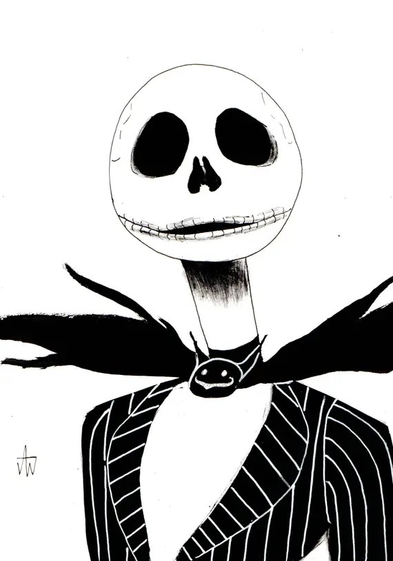 Jack Skellington Ink Drawing Jack Skellington Etsy Halloween Etsy