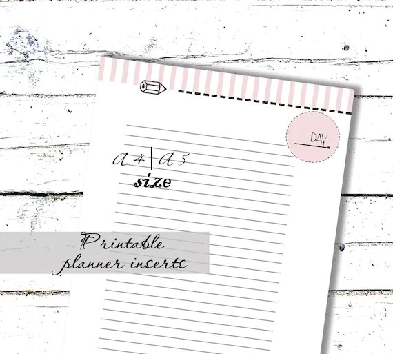 Planner Printables Filofax inserts A5 Note Pages Instant