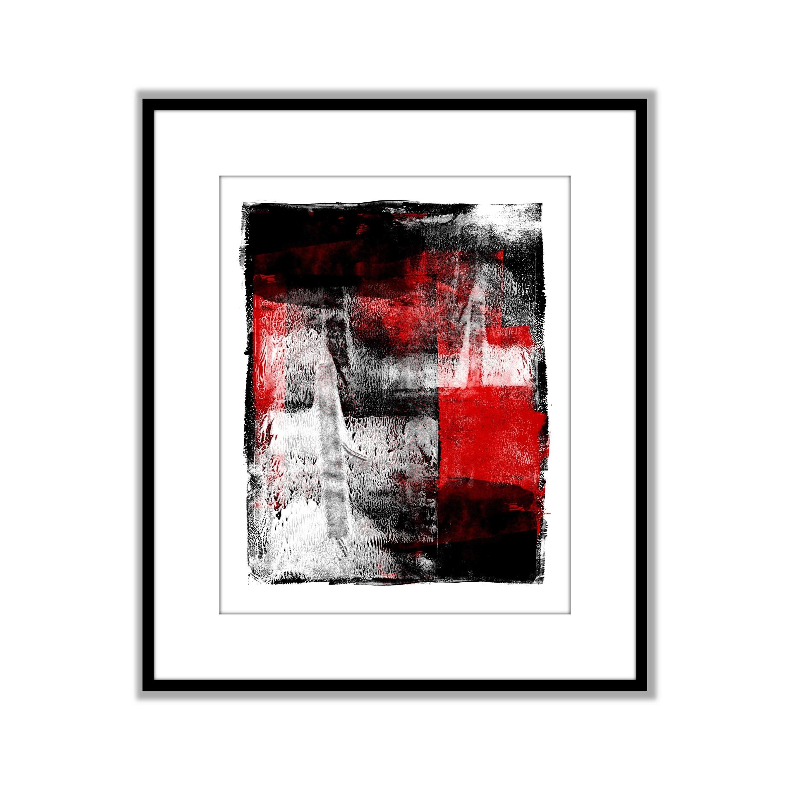red black white art