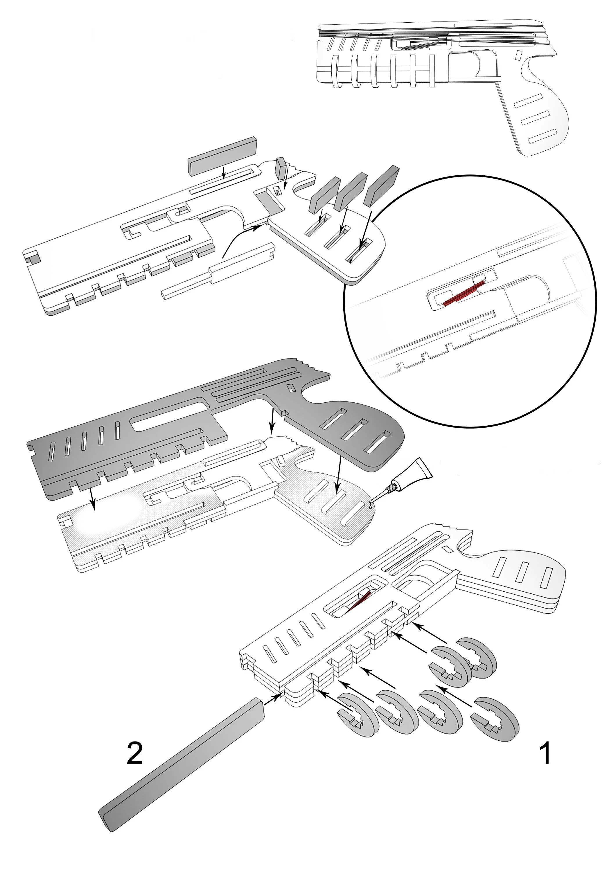 Toy gun shooting rubber bands vector for CNC svg vector