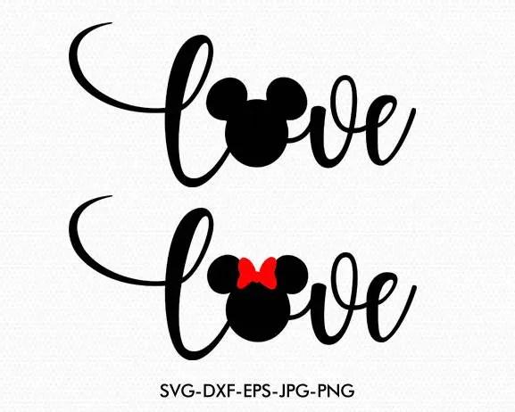 Mickey Minnie Love Wording Disney Love valentines Svg