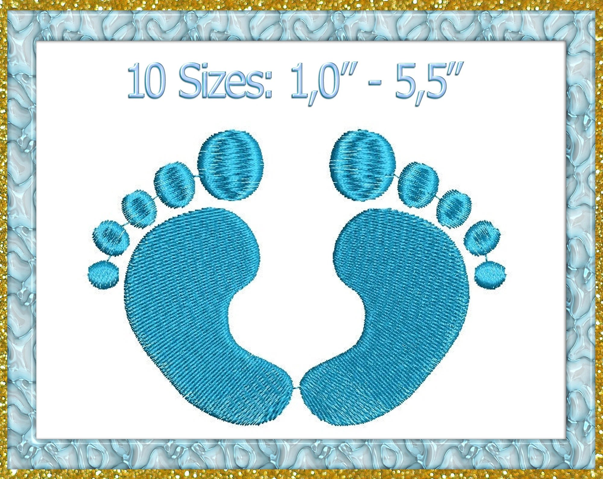 baby footprints embroidery mini