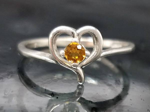 Citrine Petite Heart Ring Silver Love Sweet 16 Teen