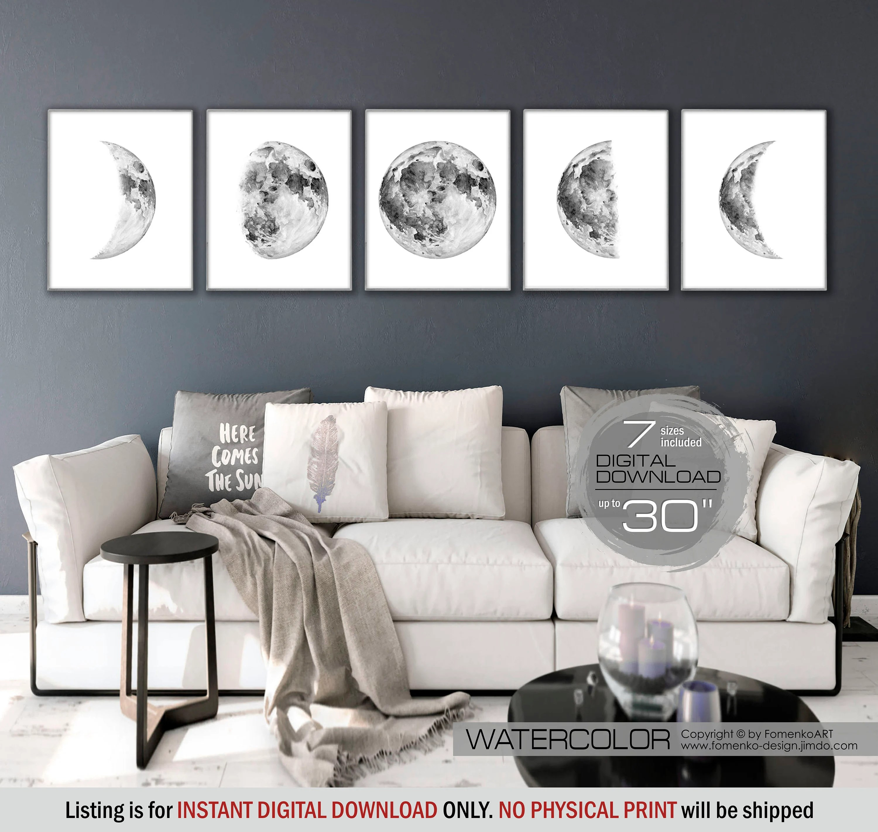 white wall decorations living room side tables for cheap moon phases printable art space black and etsy image 0