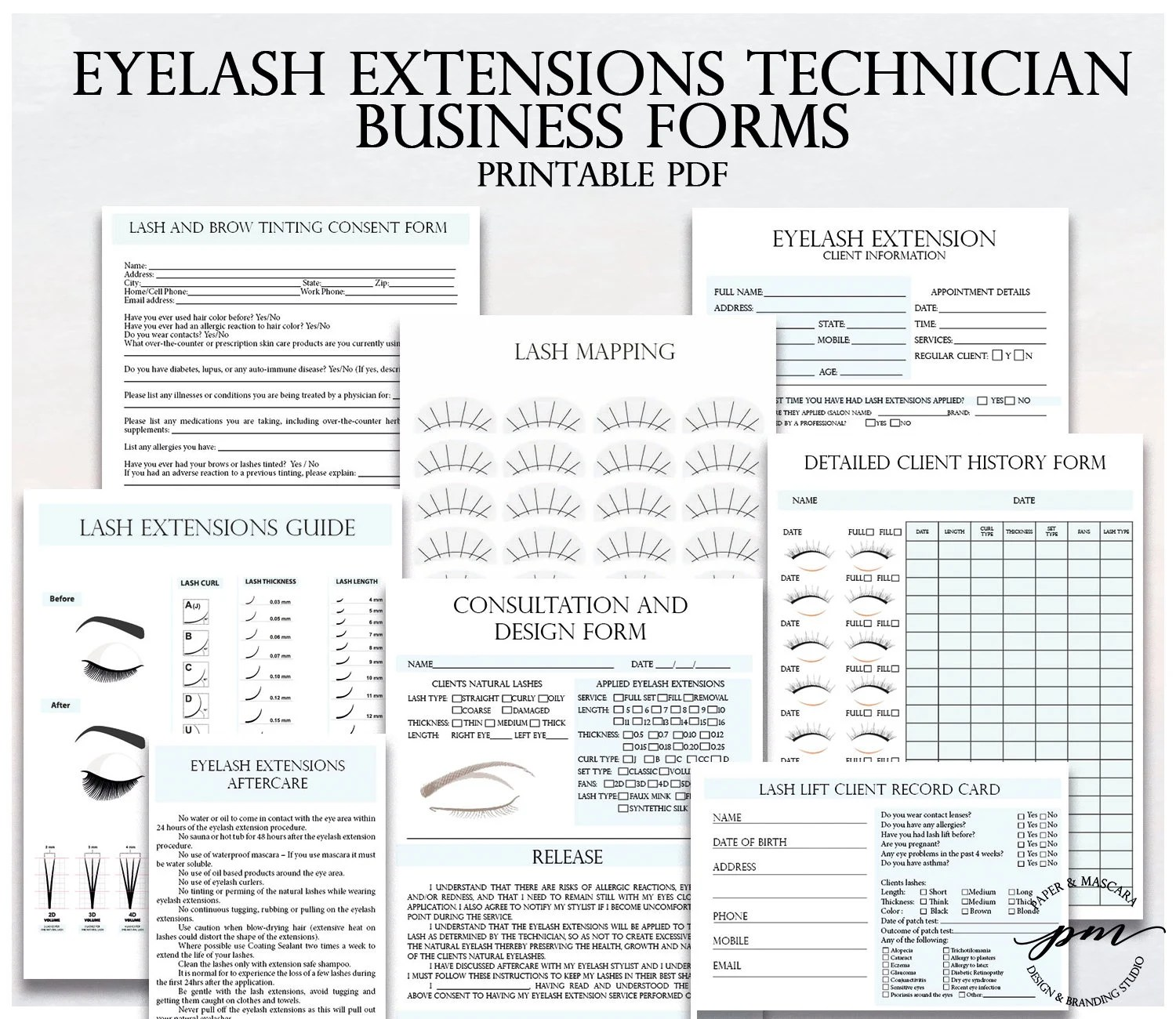 Blue Eyelash Extensions Technician Forms Printable Client