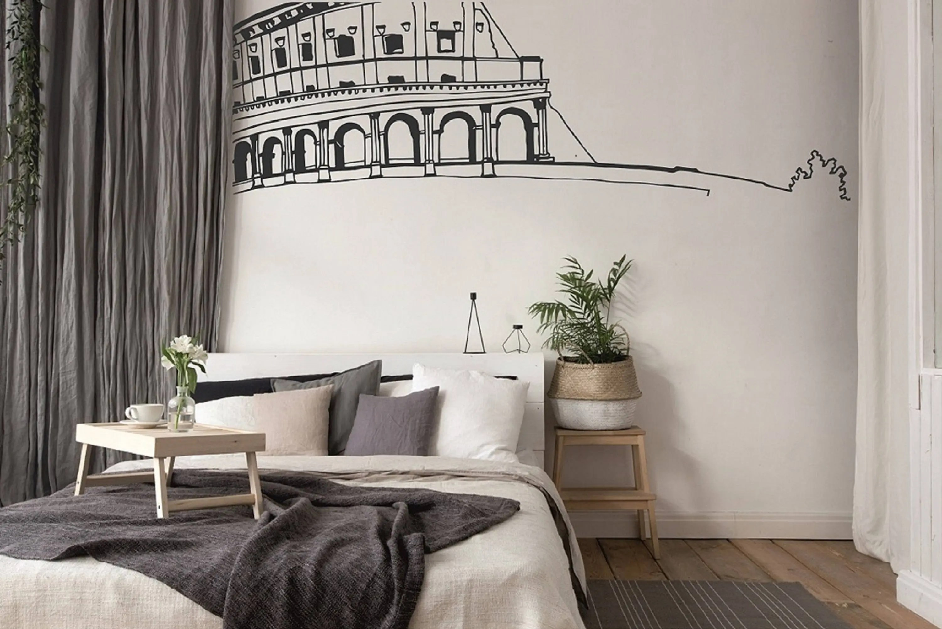 Roman Colosseum Wall Decal Artistic Wall Decor Unique Decals Bedroom Decal Living Room Wall Decal Interior Decoration Vinyl Wall Decal