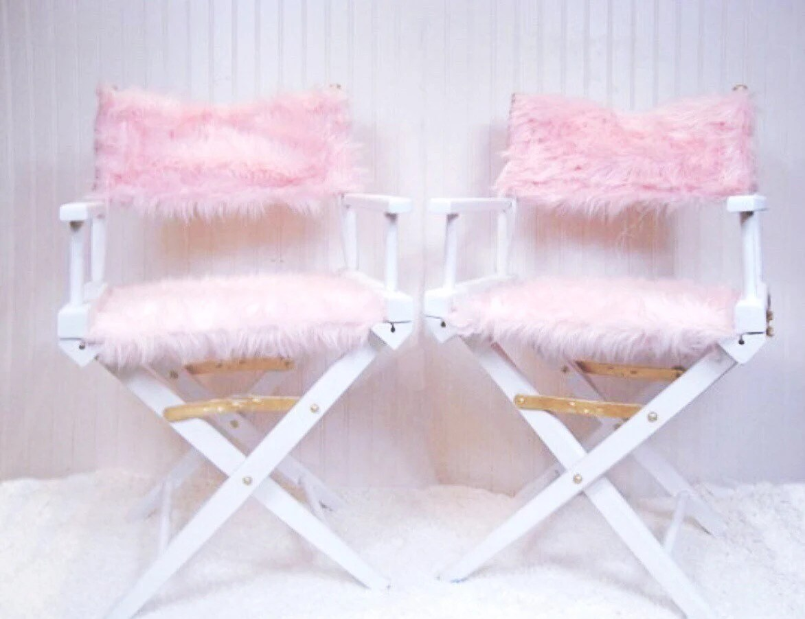 pink vanity chair metal dining chairs target etsy fur free shipping director s boutique