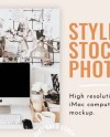 Neutral Desktop Styled Stock Photo Imac Mockup Moodboard Etsy