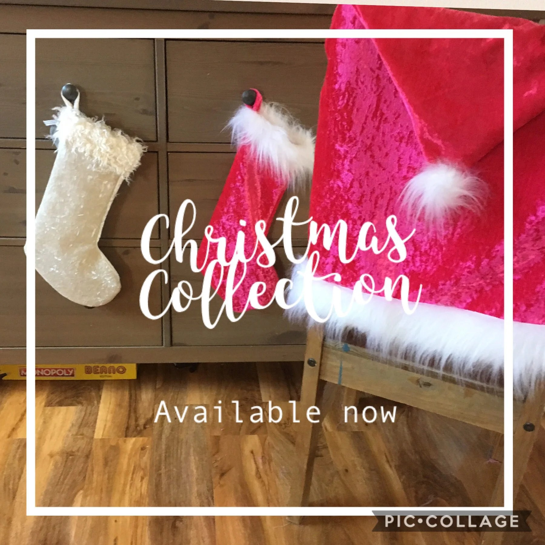 luxury christmas chair covers wicker desk and santa hat with faux fur or wool etsy image 0