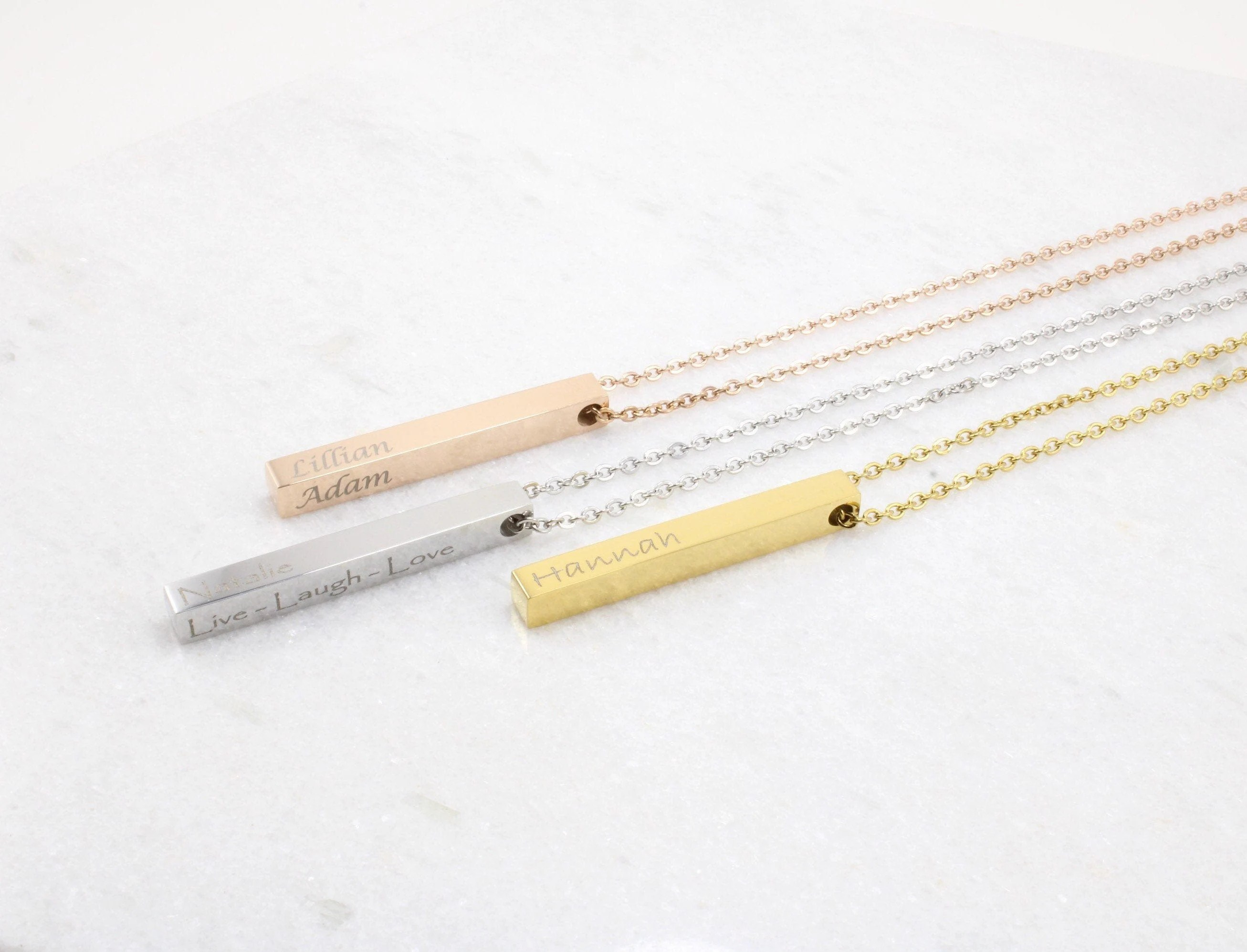 Personalized jewelry bar necklace custom laser engraved image 2
