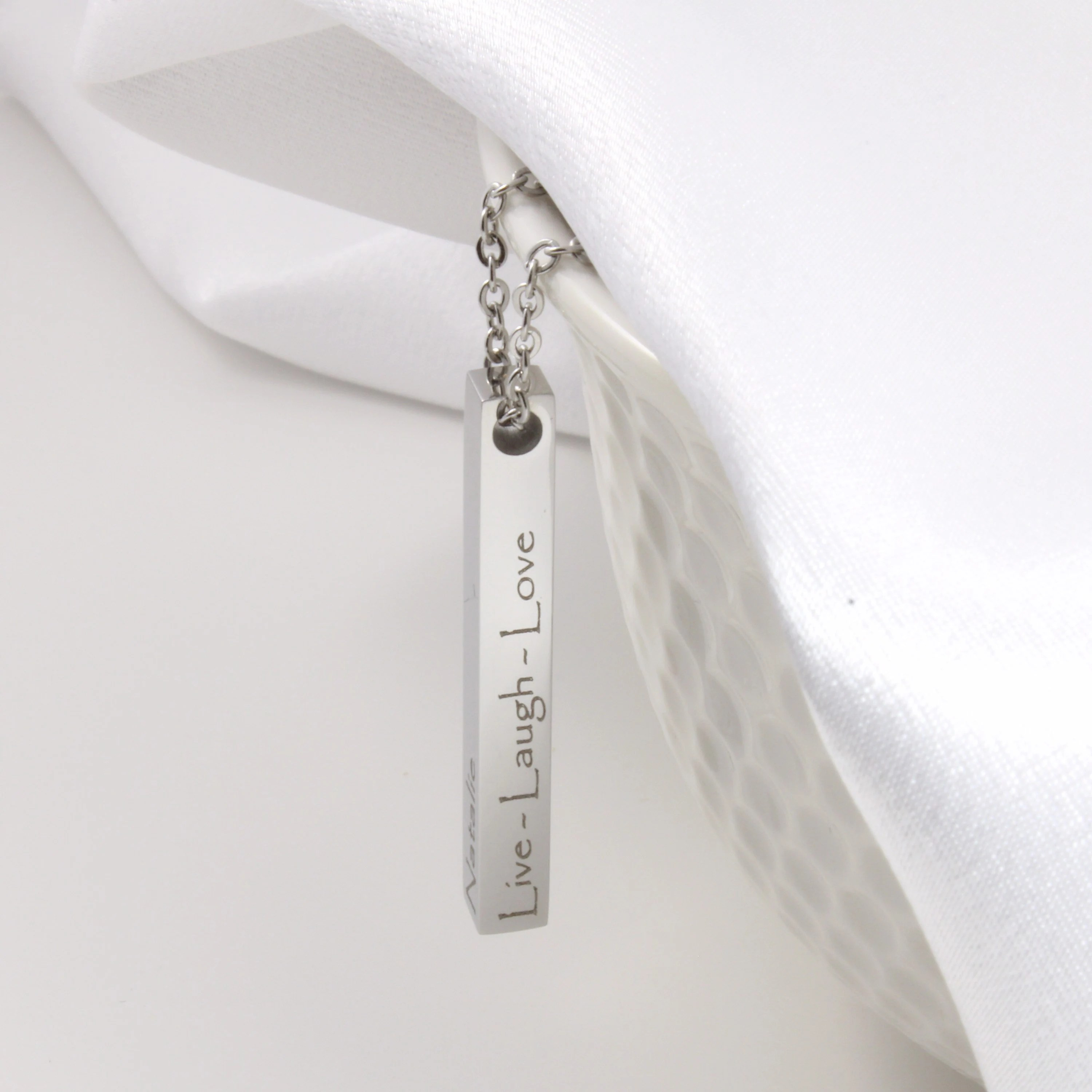 Personalized jewelry bar necklace custom laser engraved image 5
