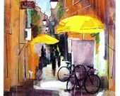 Yellow Umbrellas - Montpellier France - Greeting Card - Pack of 4 cards