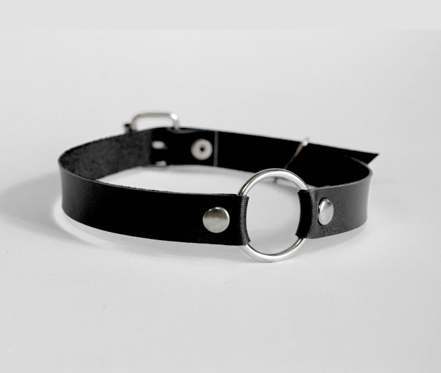 Submissive Leather Collar Leather O Ring Leather Slave Collar Black Choker Bdsm Collar Leather Collar For Day Soft Leather Adjustable
