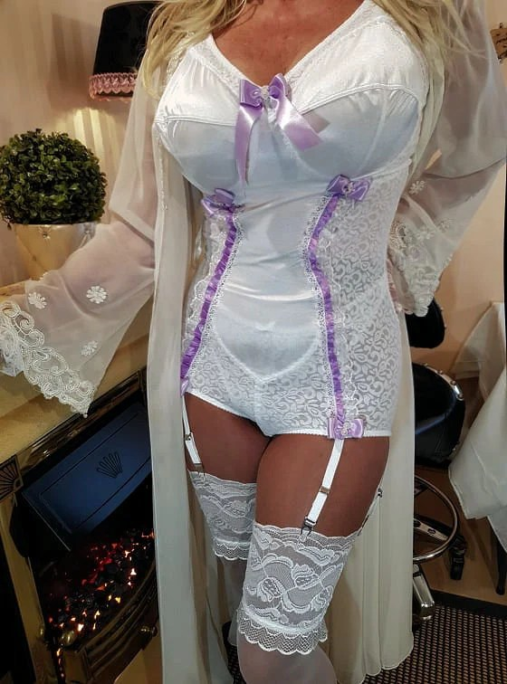All in one satin trim shaper 6 suspender girdle lavender
