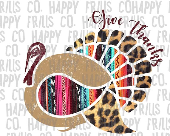 Fall Collage Wallpaper Leopard Serape Give Thanks Turkey Digital Image Png