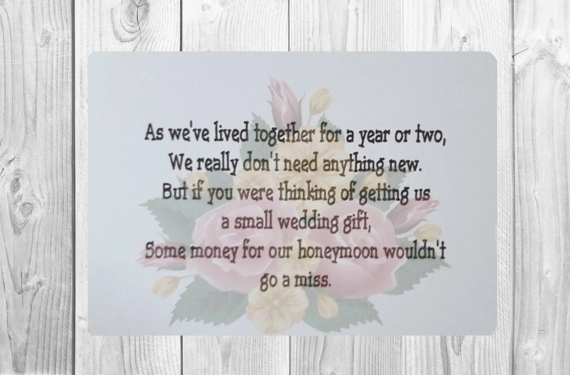 10 X Personalised Wedding Money Wish Poem / Gift Poem
