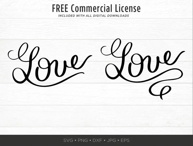 Download Curly Love SVG Love Script Cuttable Curly Love Cut File | Etsy