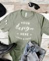 Men S Heather Stone Bella Canvas 3001 T Shirt Mockup Etsy