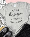 Gildan 64000 Sport Grey T Shirt Mockup Feminine Flat Lay On Etsy