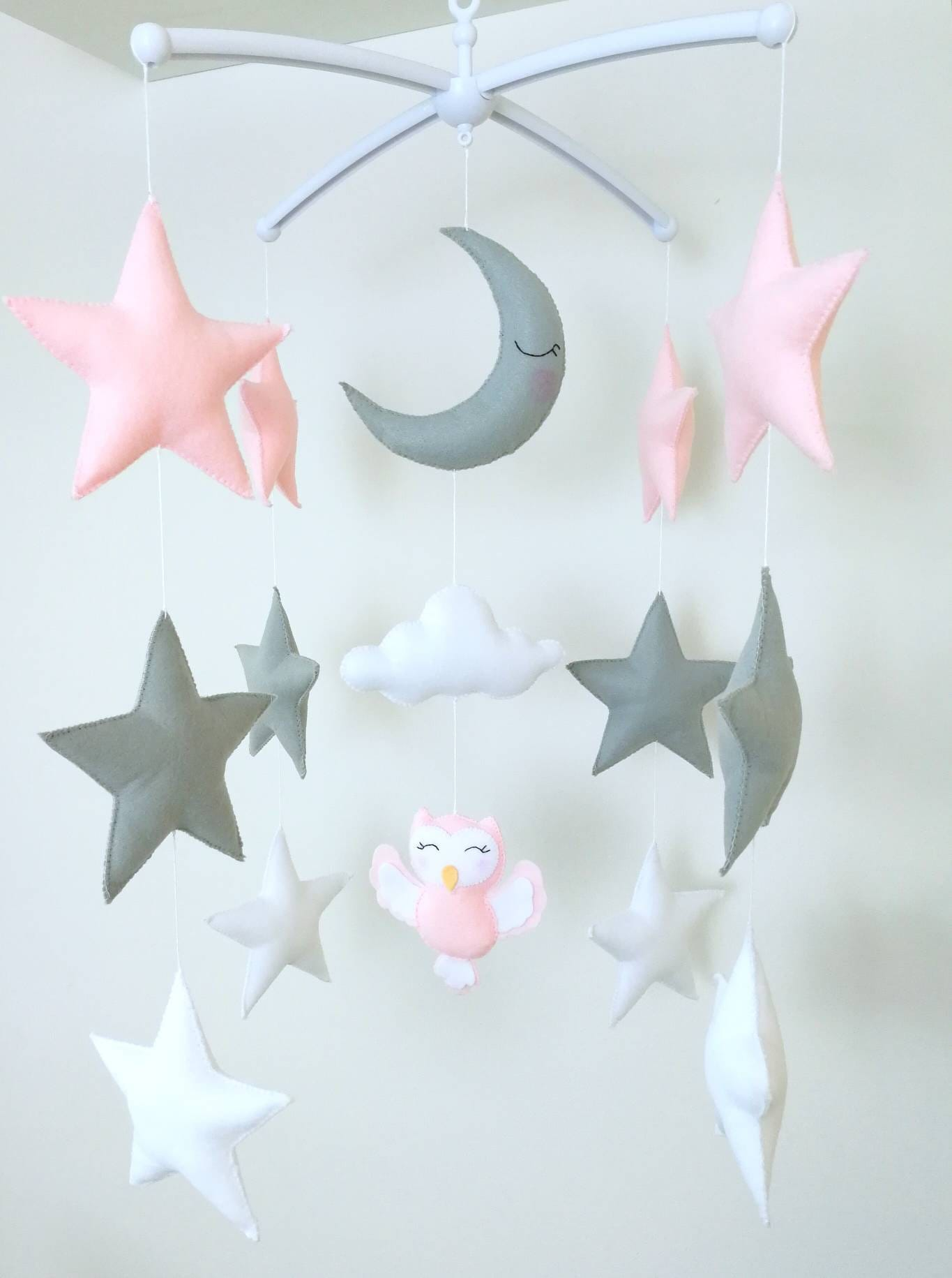 Cute Owl Decor Pink Baby Girl Mobile Cute Owl Decor Woodland Nursery Moon