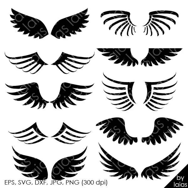 Clipart wings silhouette png eps svg dxf files wings svg